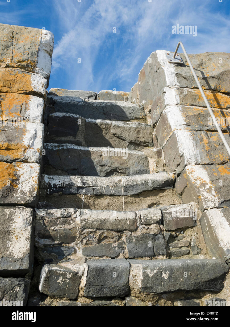 Steps in the quay wall at New Quay, Ceredigion, Wales - Stock Image
