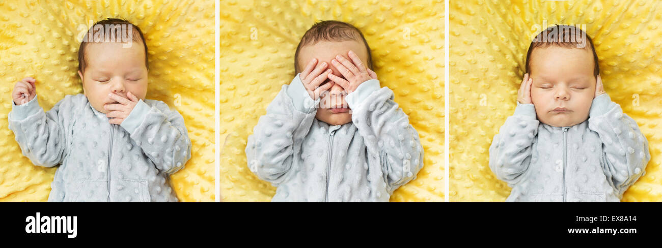 Multiple photo of a newborn child - Stock Image