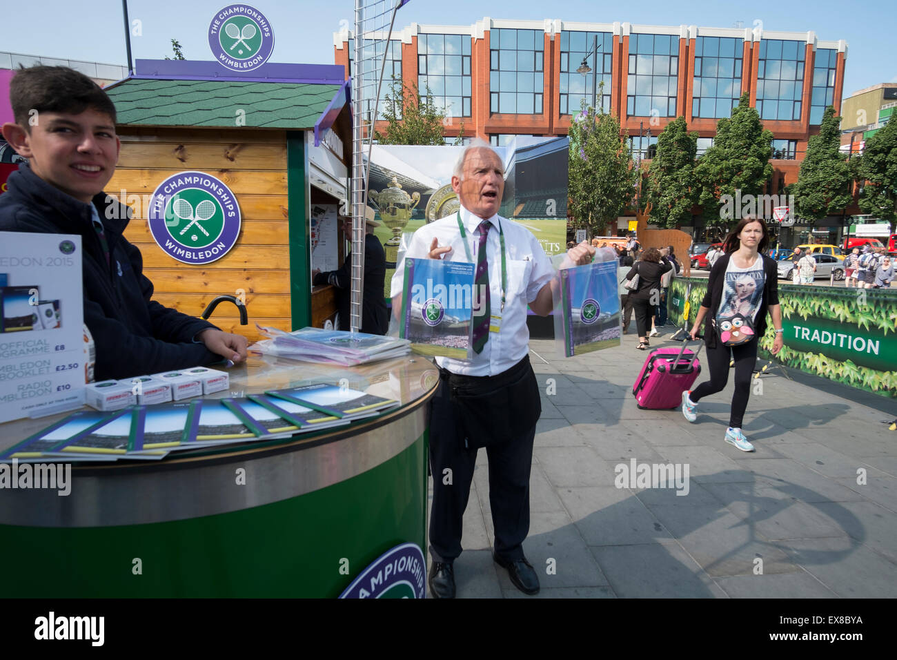 Wimbledon, London UK. 9th July 2015. Business as usual selling Tennis Programmes at Wimbledon in spite of the tube - Stock Image