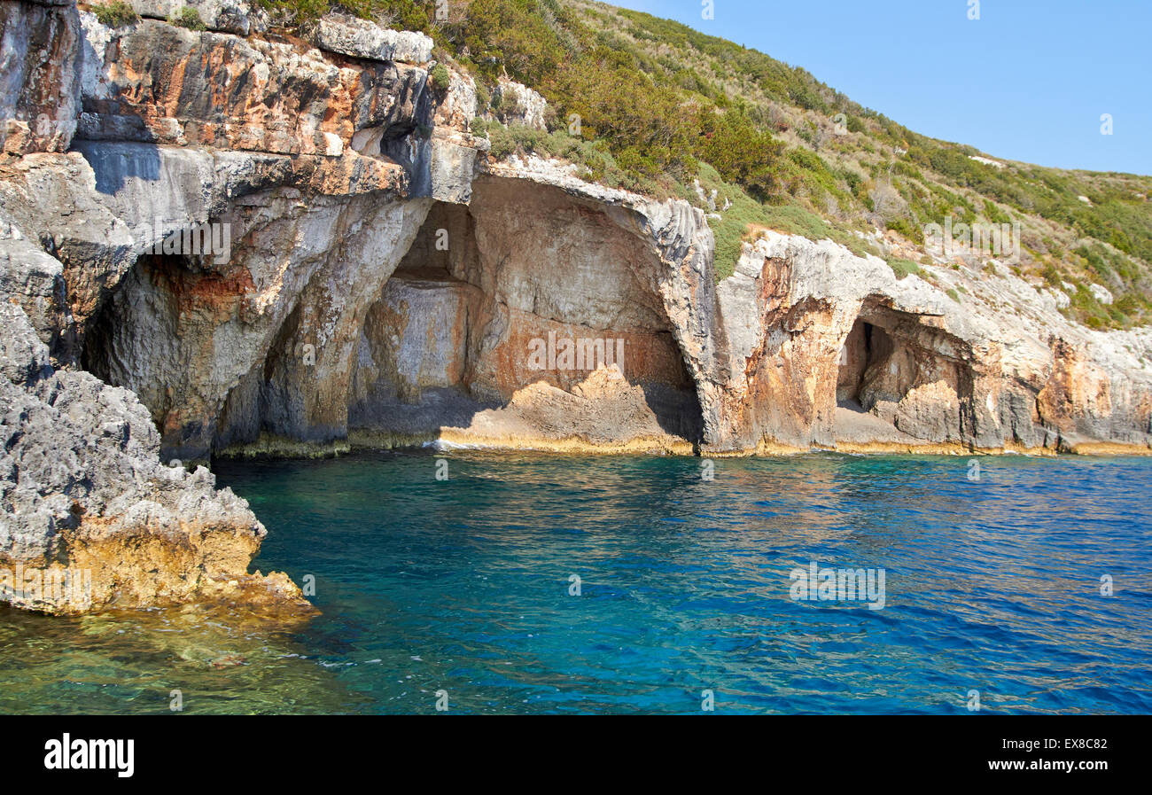 Blue caves at bright sunny day Zakinthos Greece Stock Photo