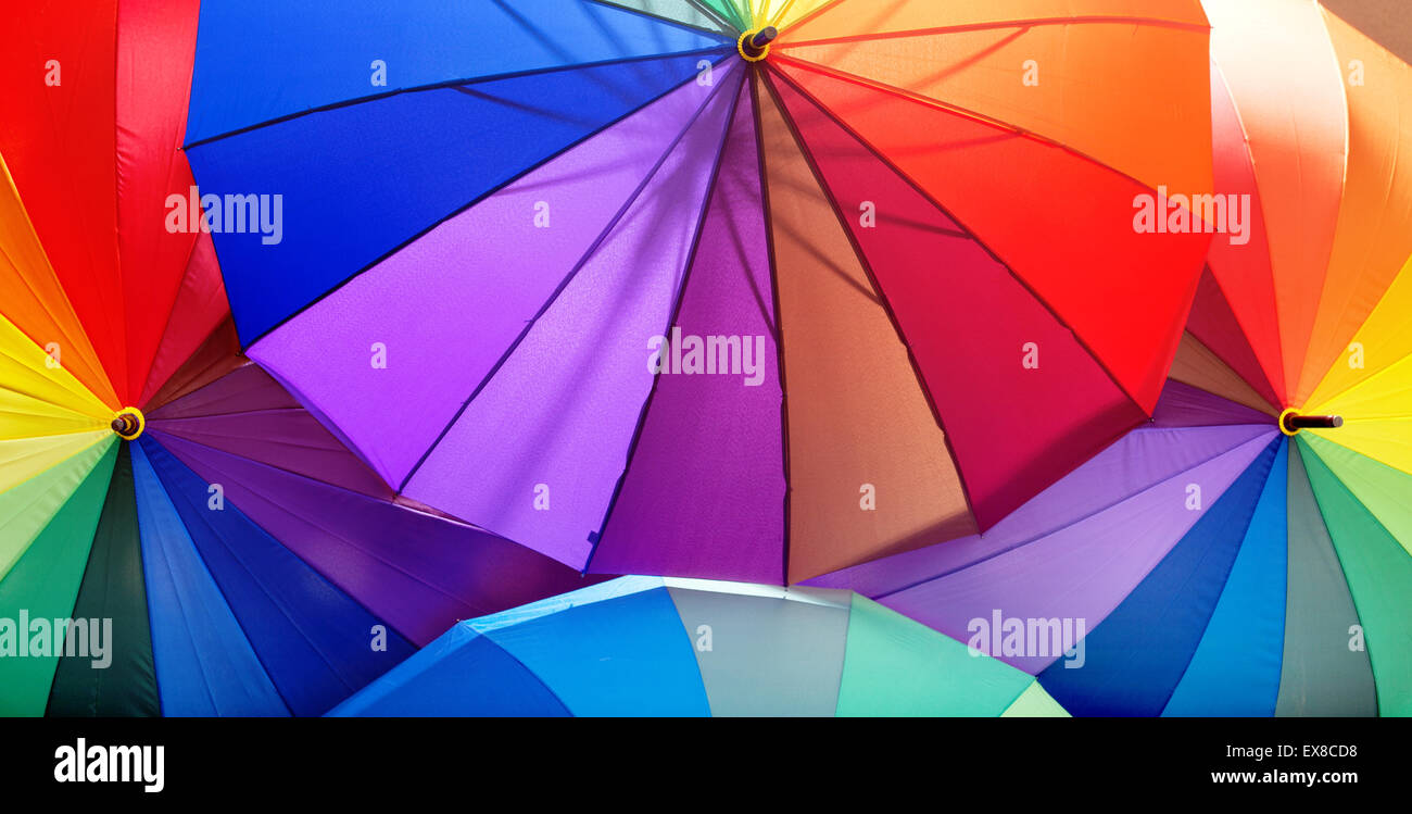 Picture of a bunch of vivid umbrellas - Stock Image