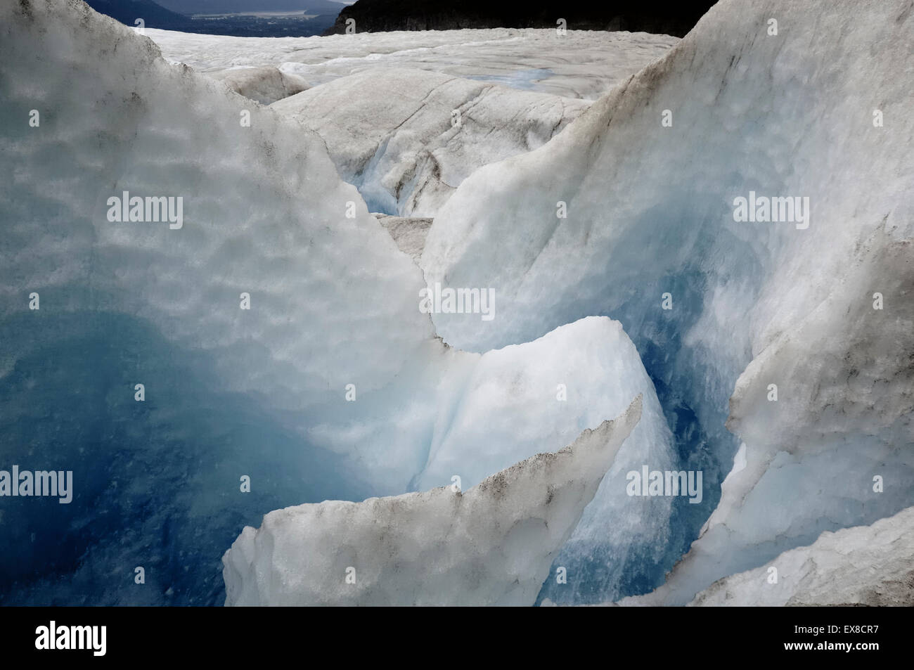 Moulin at Mendenhall Glacier, Juneau, Alaska - Stock Image