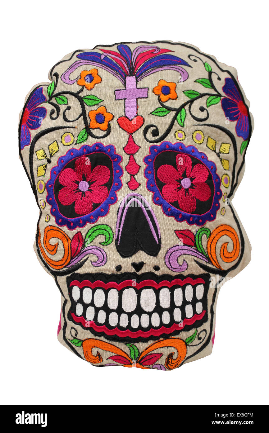 Colourful Day Of The Dead Skull, Mexico - Stock Image