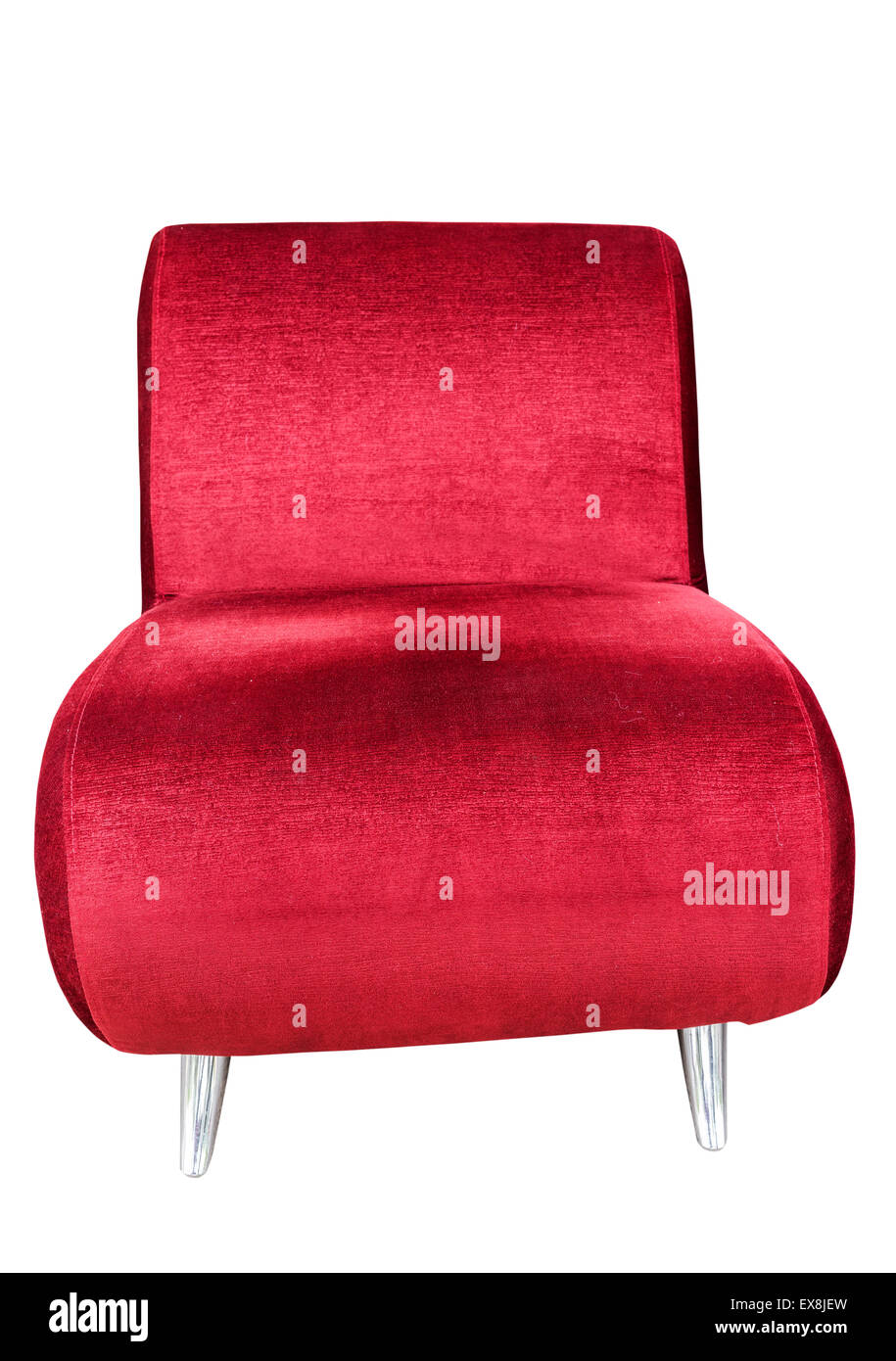 Red sofa seat isolated on white background with clipping path - Stock Image
