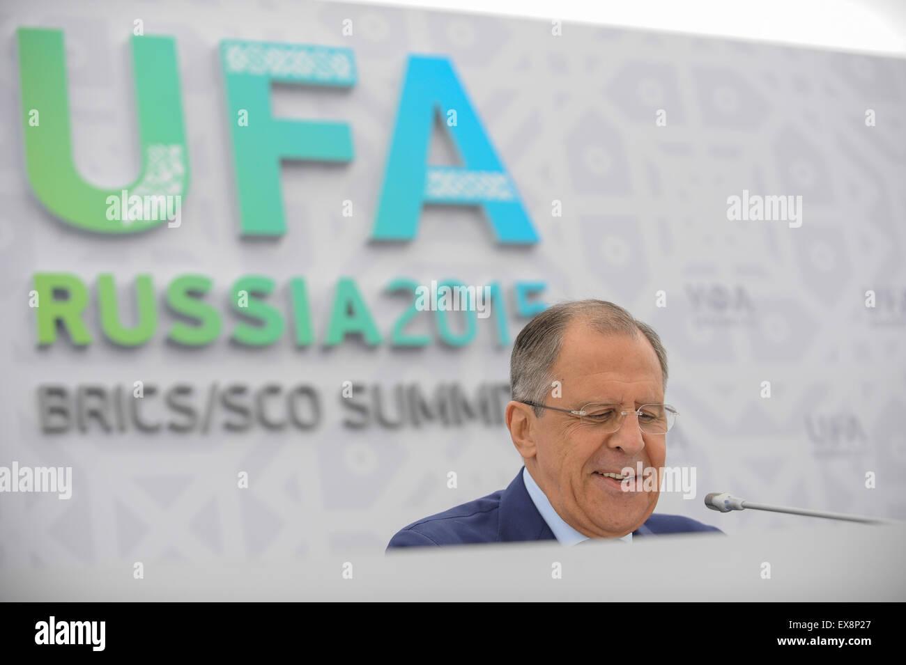 Ufa, Russia. 9th July, 2015. Russian Foregin Minister Sergei Lavrov addresses a press briefing in Ufa, Russia, July - Stock Image