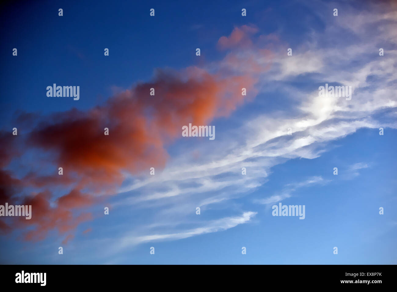sunset reveals a gorgeous sky with the promise of good weather ahead - Stock Image