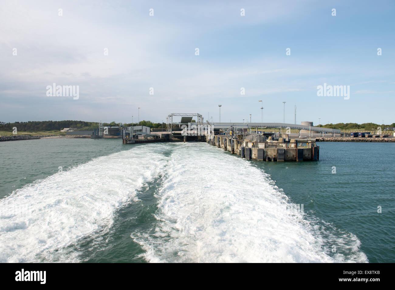 Sjællands odde ferry terminal as seen from the high speed ferry of mols linien, - Stock Image