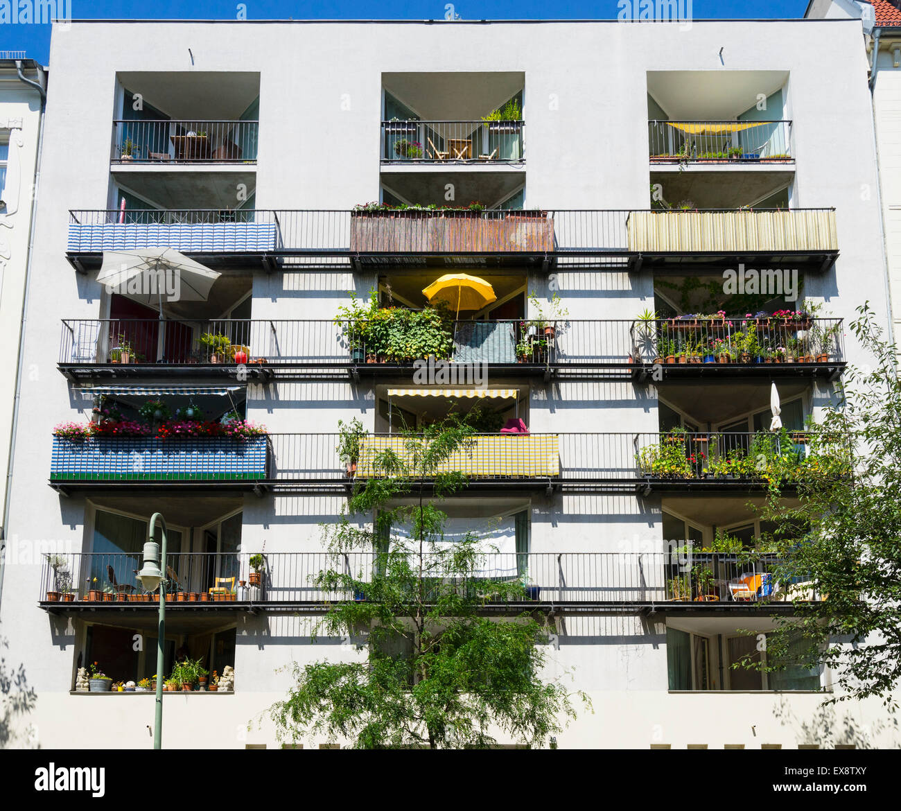 Types Of Apartment Buildings: Balconies In Summer In Modern Apartment Building In