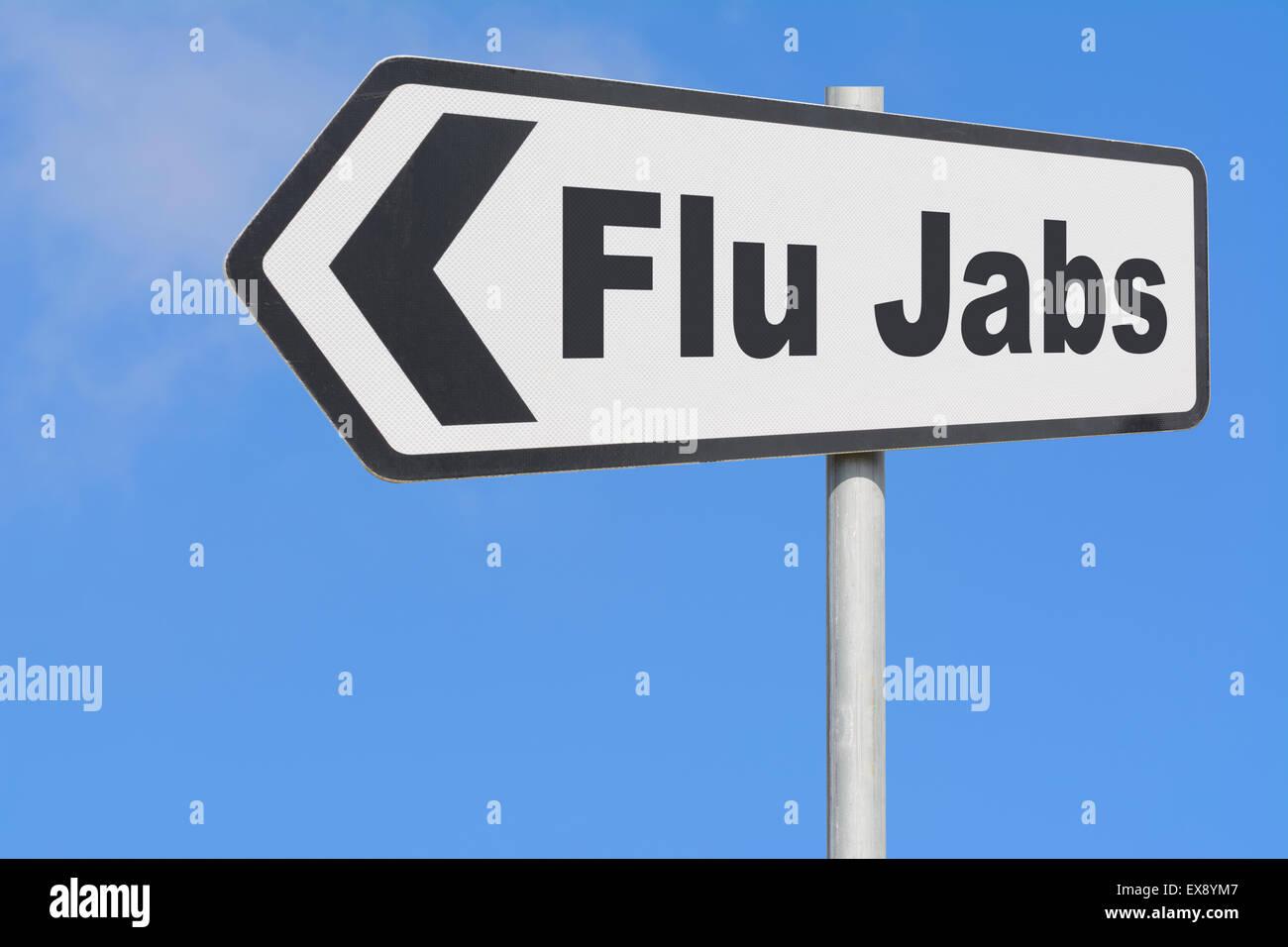 Flu Jabs direction sign. - Stock Image