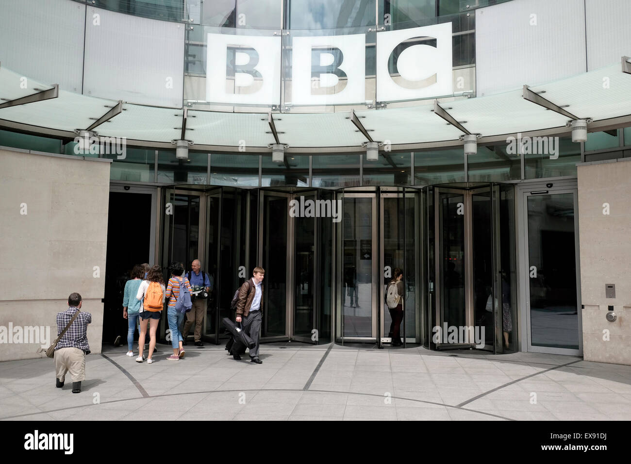 A general view of the entrance of BBC in central London - Stock Image