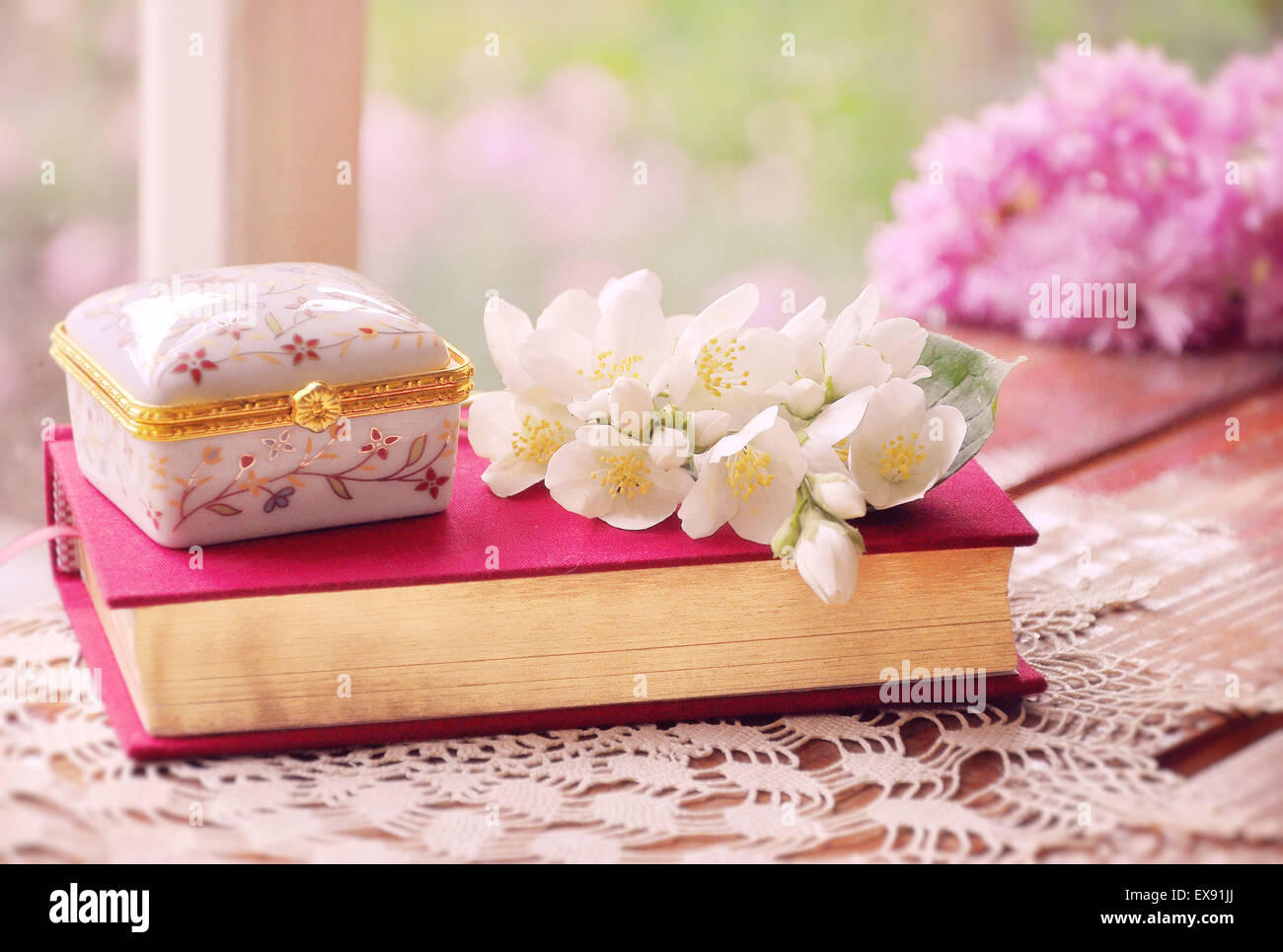 A Girls Dream A Pink Gold Jewelry Box Books And Flowers Stock
