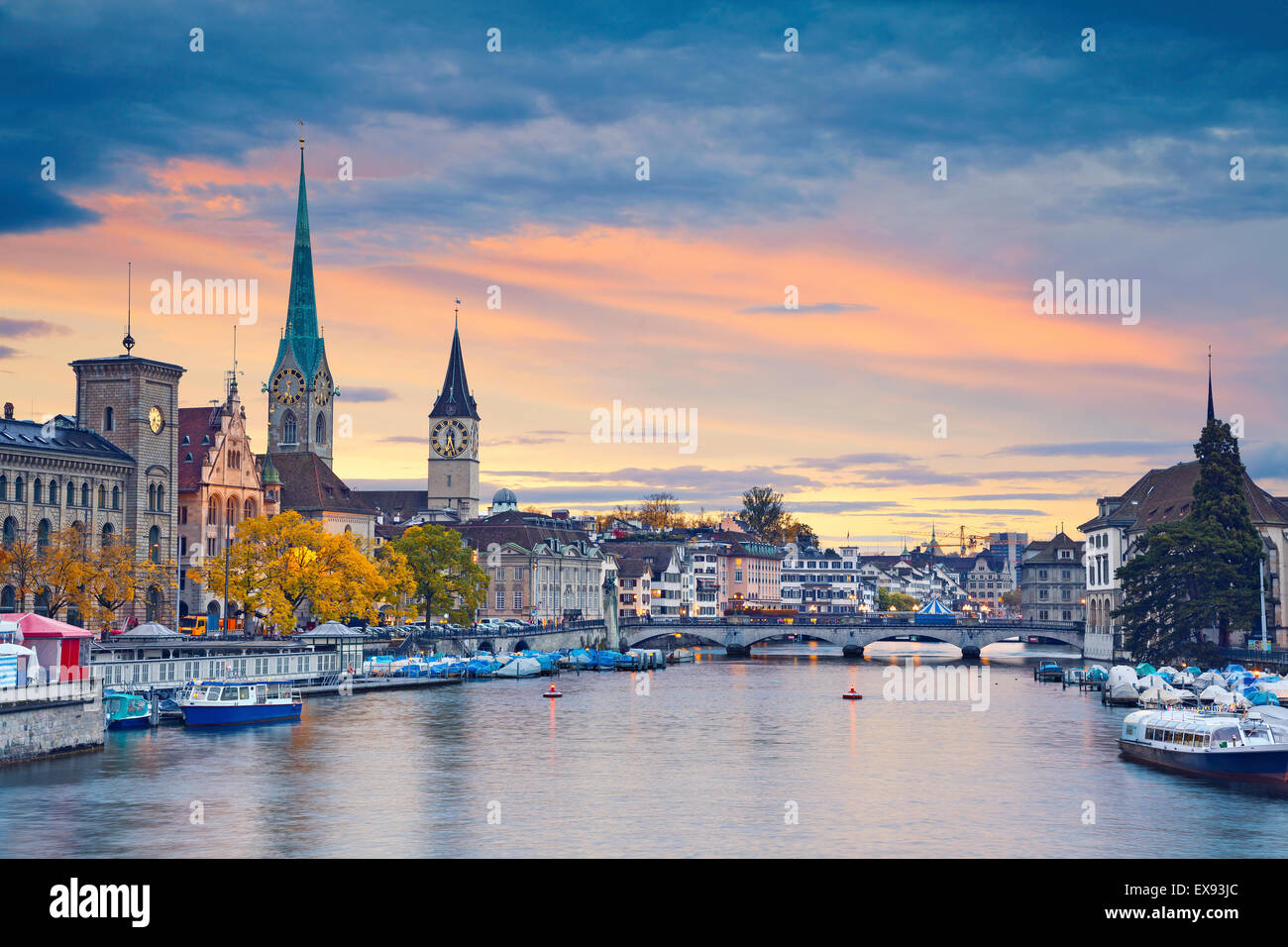 Zurich. Image of Zurich, Switzerland during autumn sunset. - Stock Image