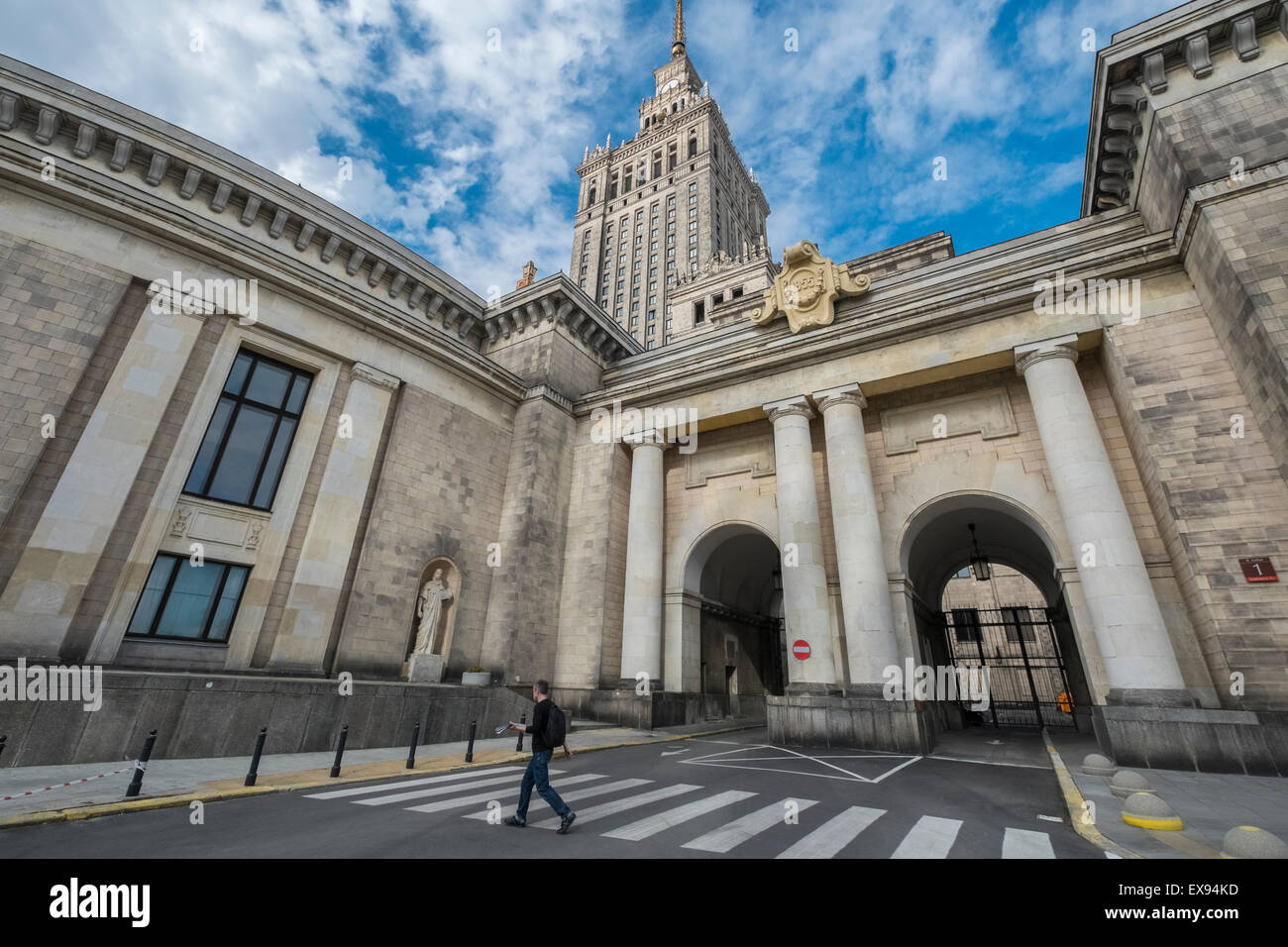 The Palace of Culture and Science building, a mix of Stalinist architecture and Polish historicism, Warsaw, Poland Stock Photo