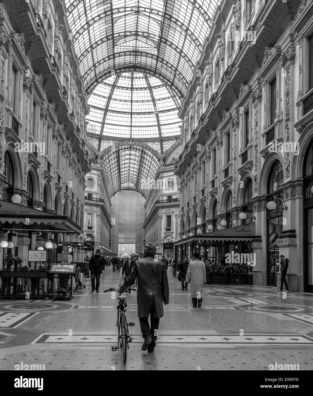 Push bike through the mall - Stock Image