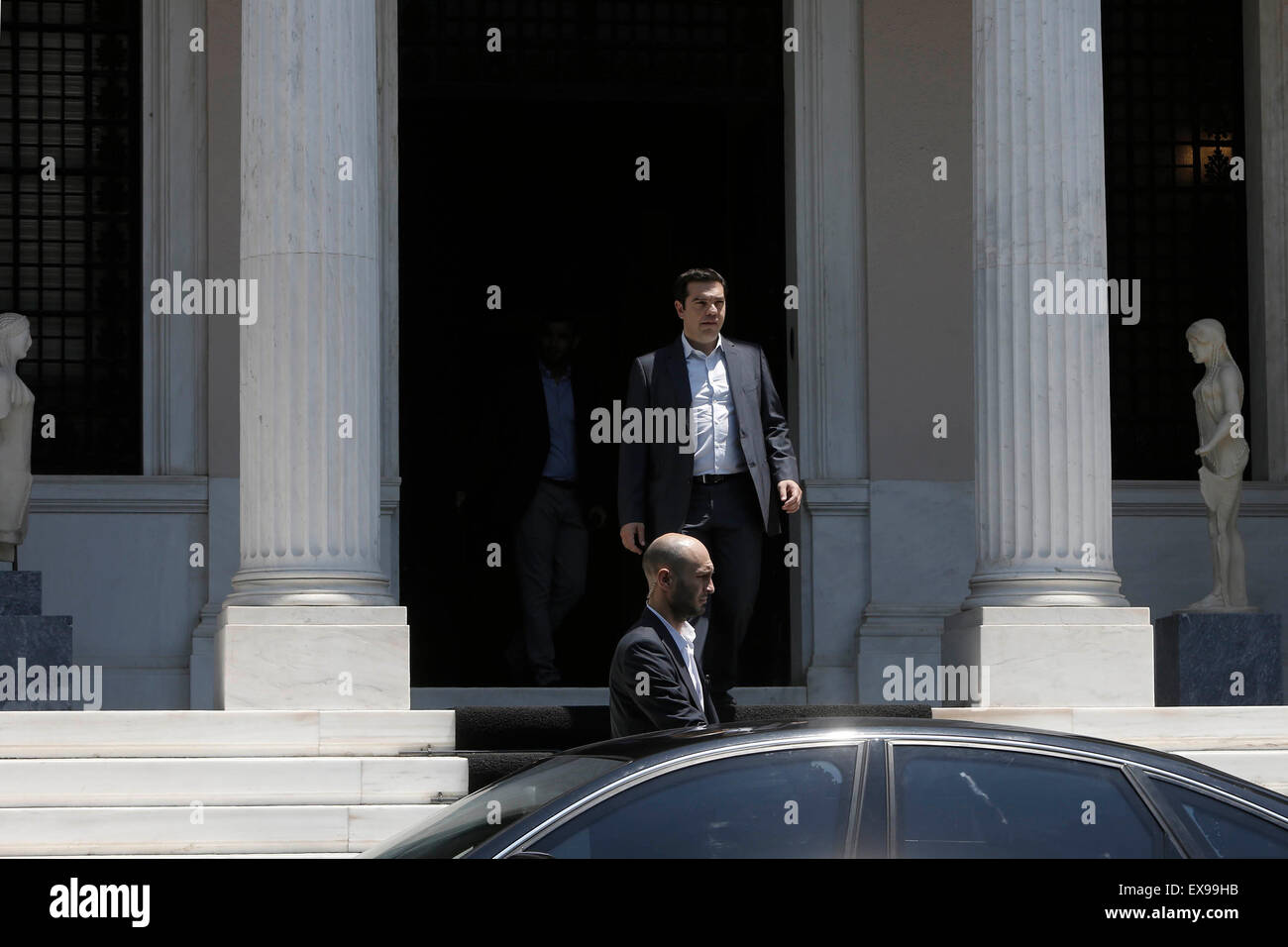 Athens, Greece. 9th July, 2015. Greek Prime Minister Alexis Tsipras leaves after a cabinet meeting in Athens, Greece, - Stock Image