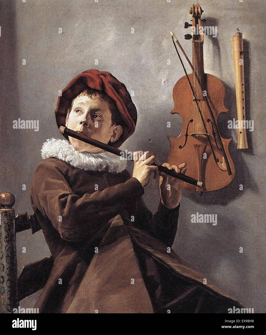 Judith Leyster  The Young Flute Player - Stock Image