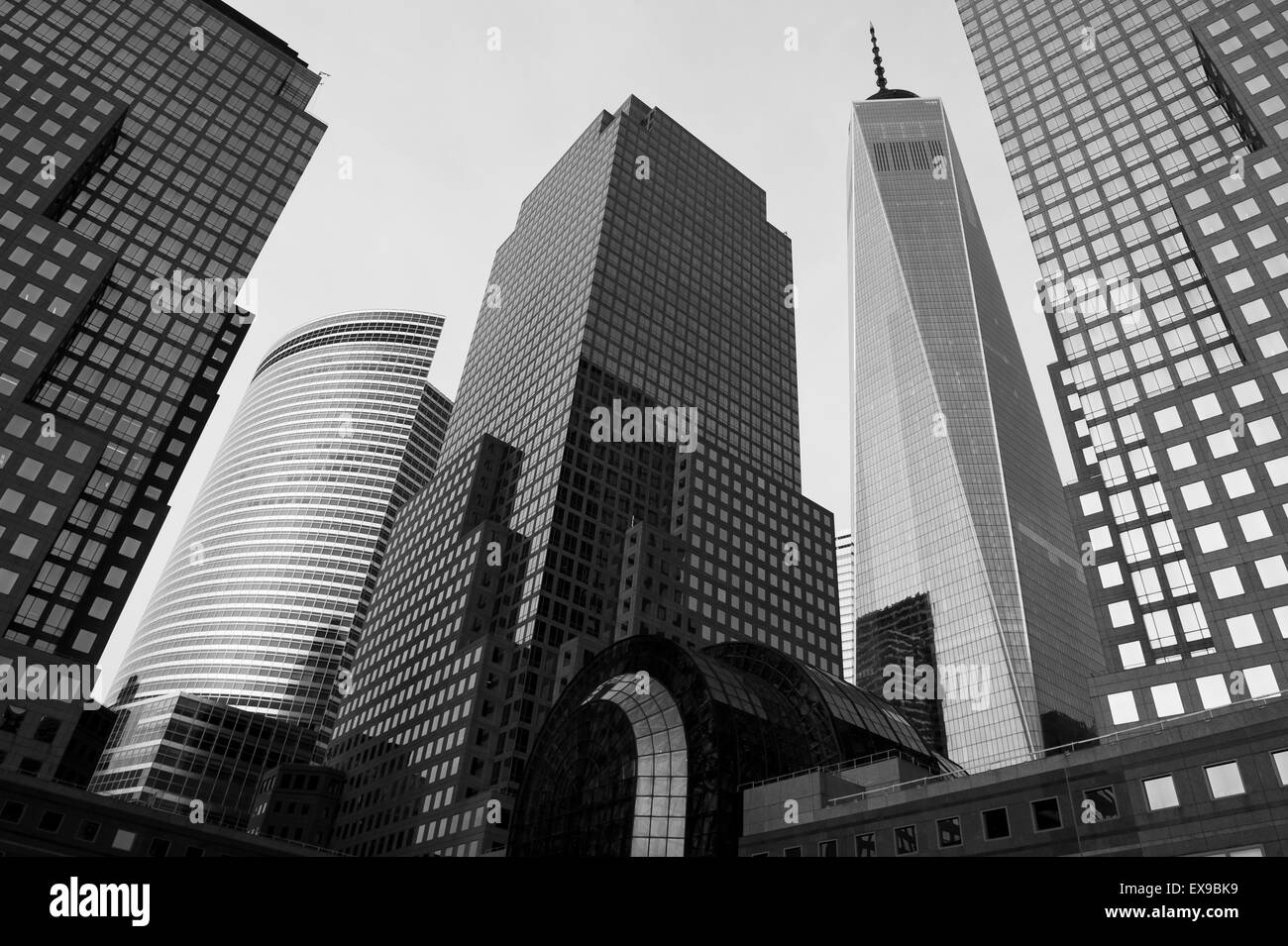 NEW YORK CITY, USA - JULY 05, 2015: Downtown Manhattan skyline featuring the World Financial Center and One World - Stock Image