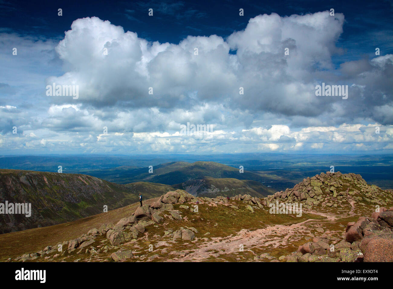 The Cairngorm National Park from the Munro summit of Bynack More, Badenoch & Speyside - Stock Image