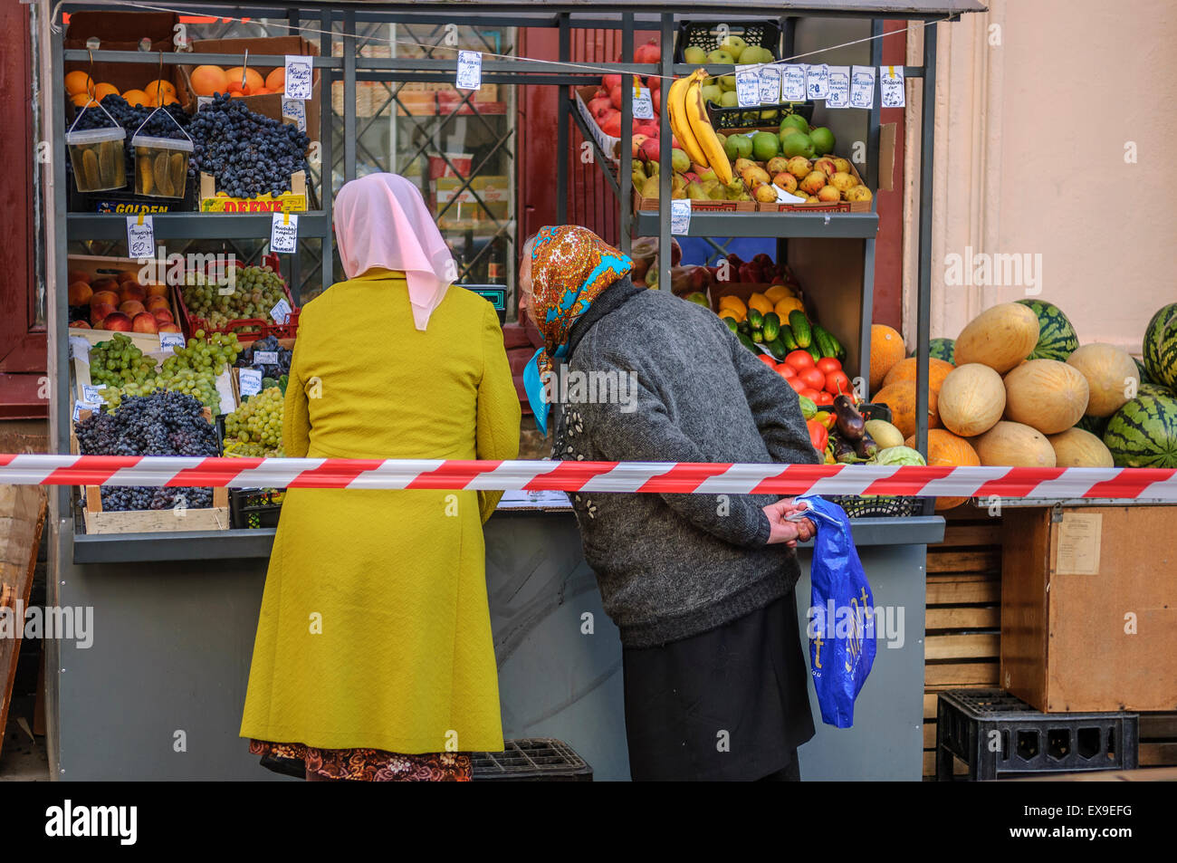 Russian women shoppers at a street market. St Petersburg. Russia - Stock Image