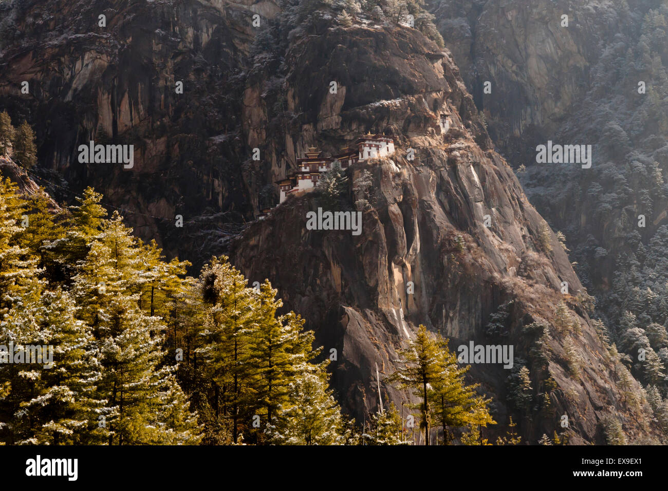 Cliff of Taktsang Monastery (Tiger's Nest) - Bhutan - Stock Image