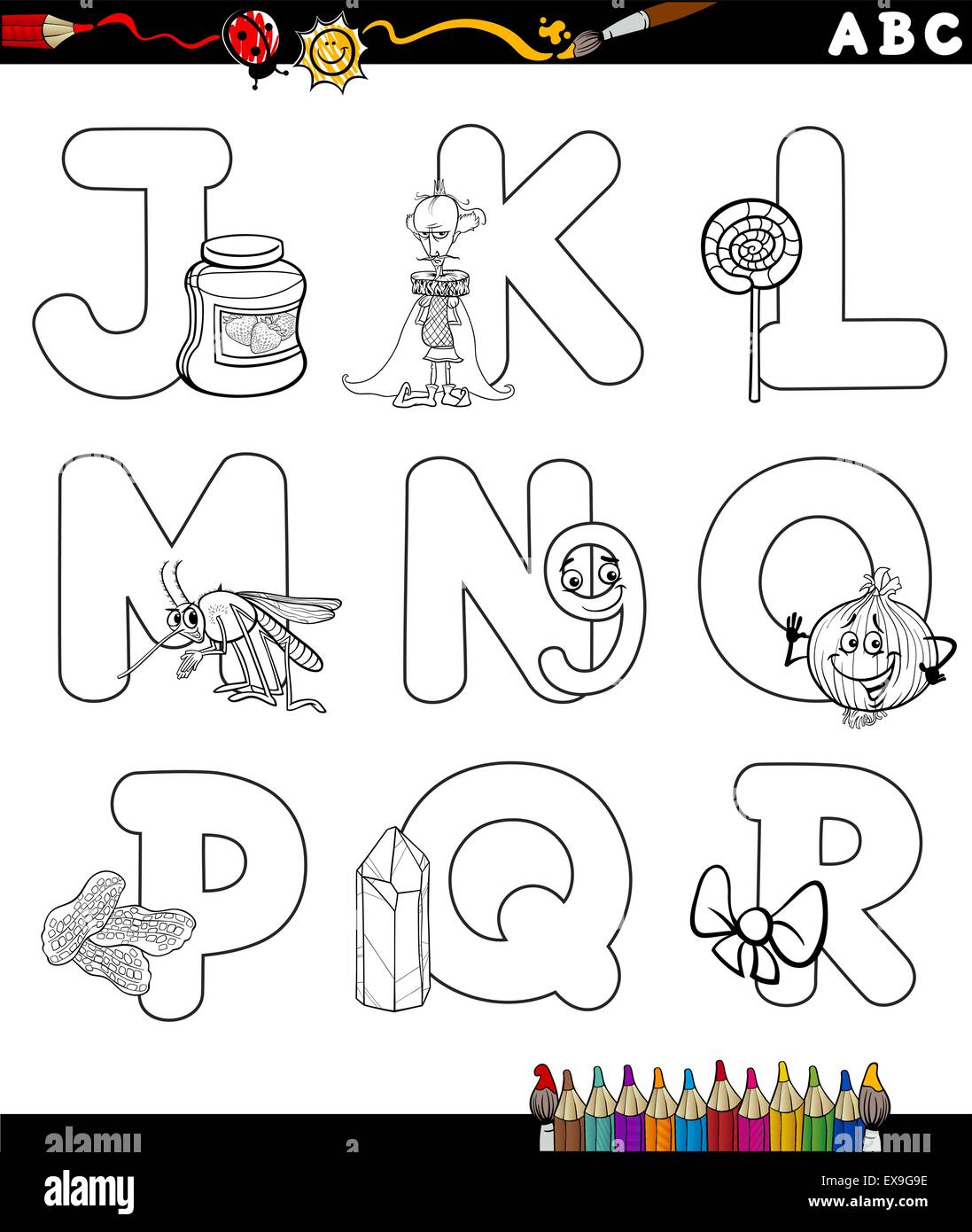 Black And White Cartoon Illustration Of Capital Letters Alphabet With Objects For Children Education From J To R Coloring Bo