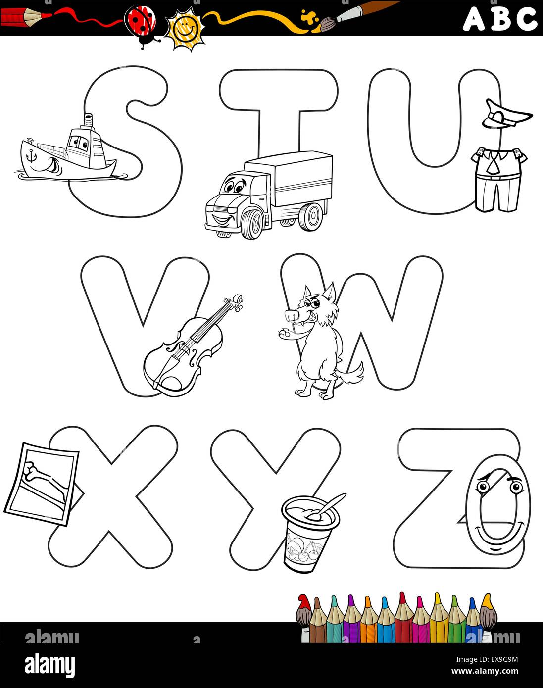 Cartoon school objects coloring page stock photos cartoon school black and white cartoon illustration of capital letters alphabet with objects for children education from s altavistaventures Images