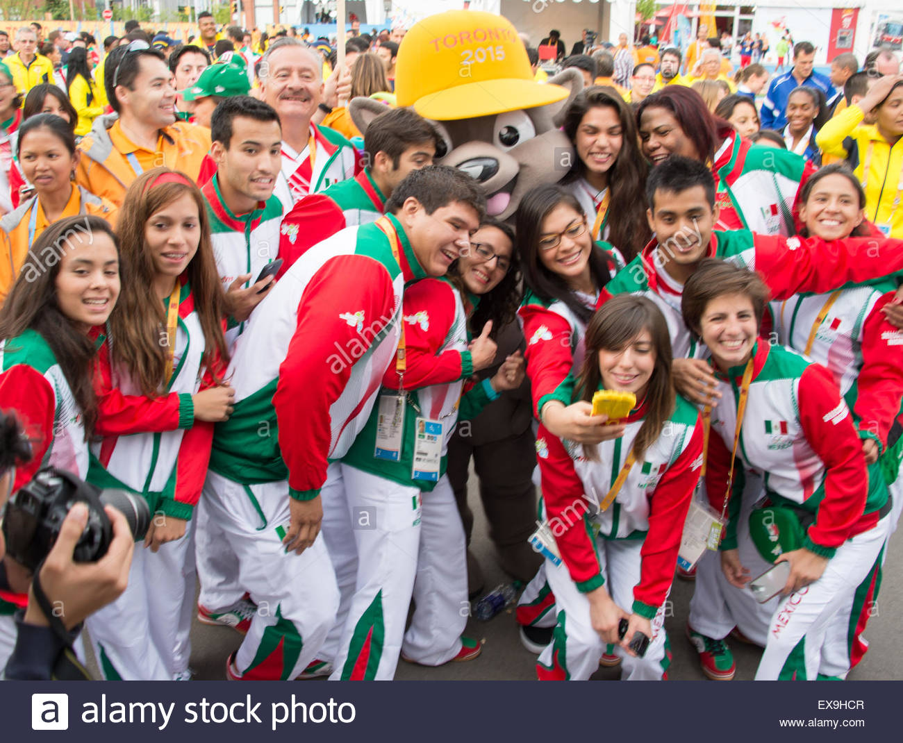 Toronto, Canada. 8th July, 2015. Toronto PanAm Games: Welcoming ceremony to the Mexican delegation to the Athletes' - Stock Image
