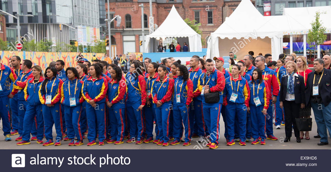 Toronto, Canada. 8th July, 2015. Toronto PanAm Games: Welcoming ceremony to the Venezuela delegation into the Athletes' - Stock Image