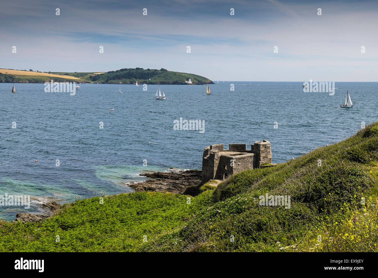 The entrance to the Carrick Roads at Falmouth, Cornwall. Stock Photo