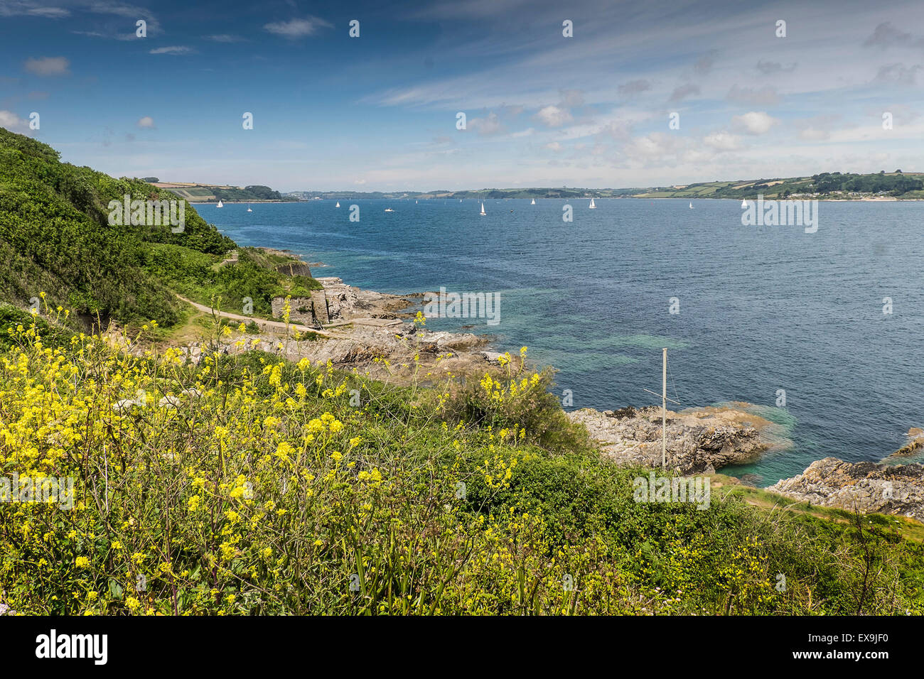 Carrick Roads seen from Pendennis point in Falmouth. - Stock Image