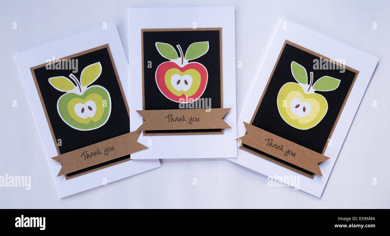 Handmade Thank You cards with apple motif - Stock Image