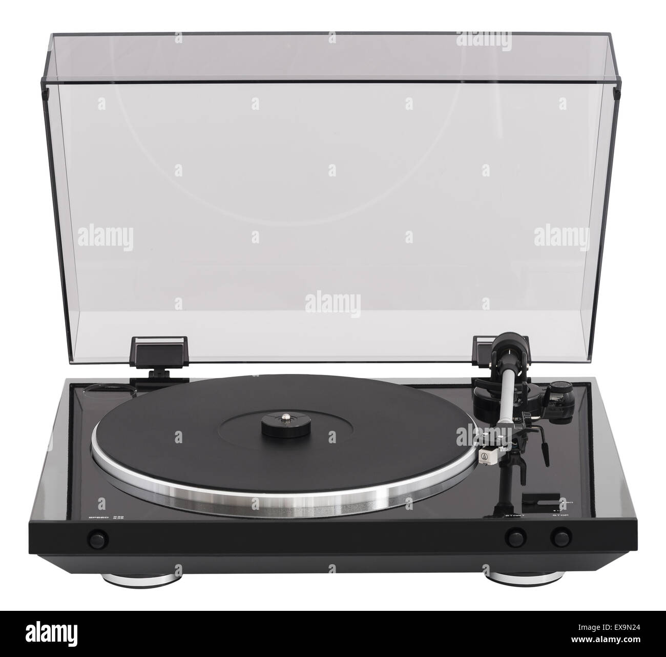 Simple Turntable, Analog Music Player Isolated on White Background - Stock Image