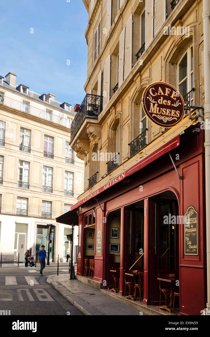 Typical French corner cafe, Cafe des musees, brasserie, restaurant, bar, Le Marais, Paris, France. Stock Photo