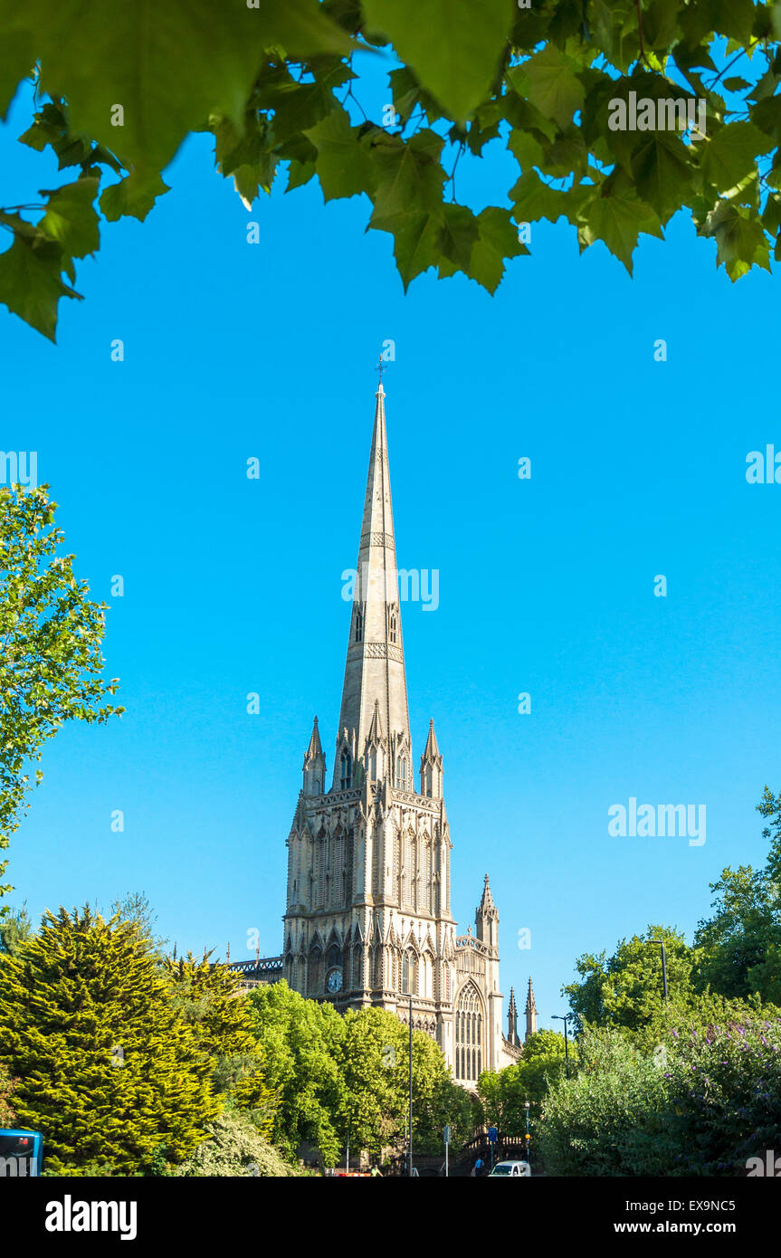 Church spire of St Mary Redcliffe, Bristol, England, UK - Stock Image