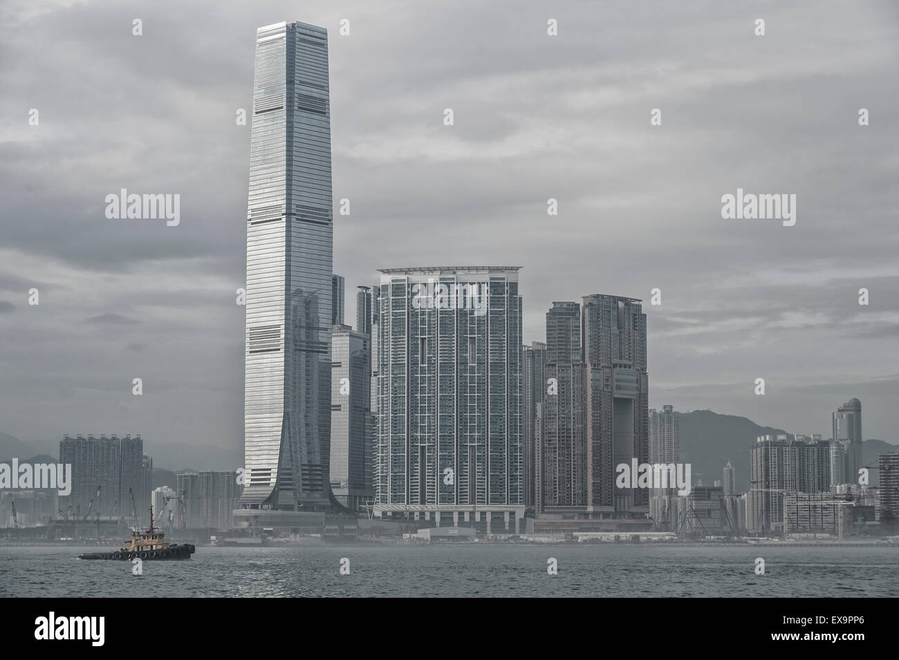 Low-contrast image of ICC tower, in Kowloon West, the highest building in Hong Kong. - Stock Image