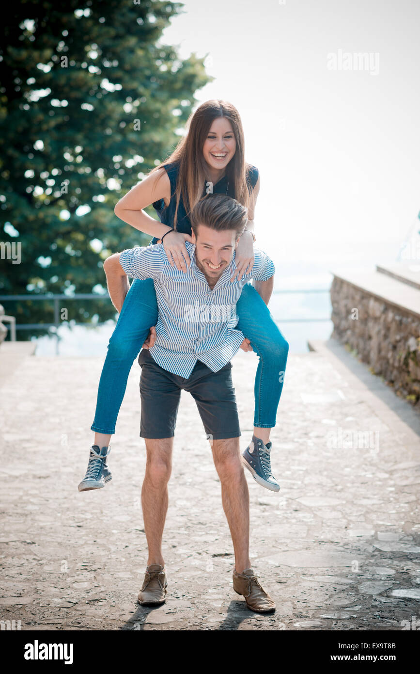young beautiful couple lovers outdoors - Stock Image