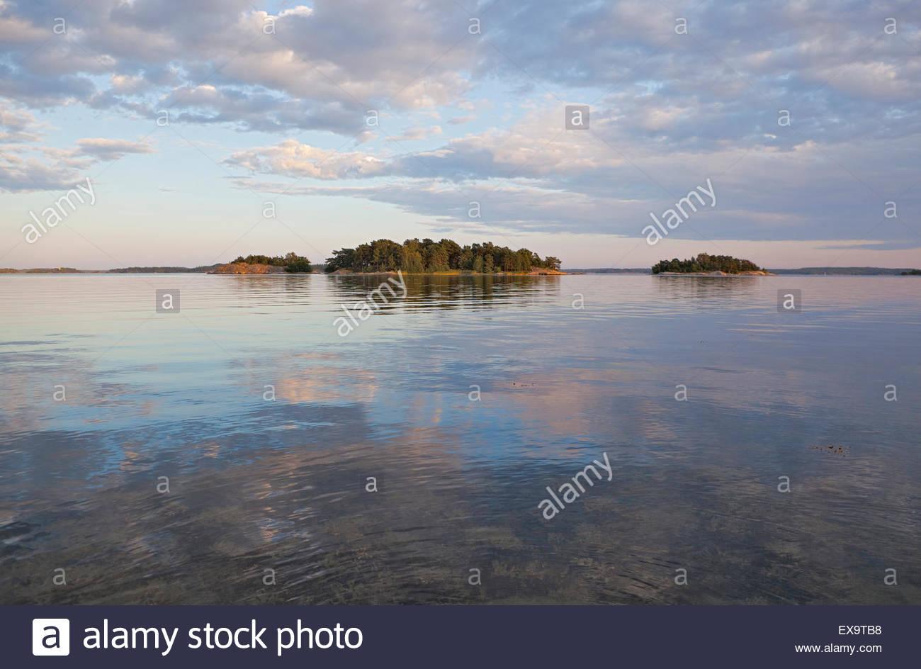 Beautiful evening in the Finnish archipelago - Stock Image