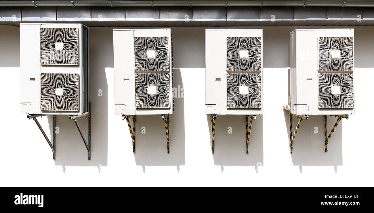 Air conditioning system assembled on a wall. - Stock Image