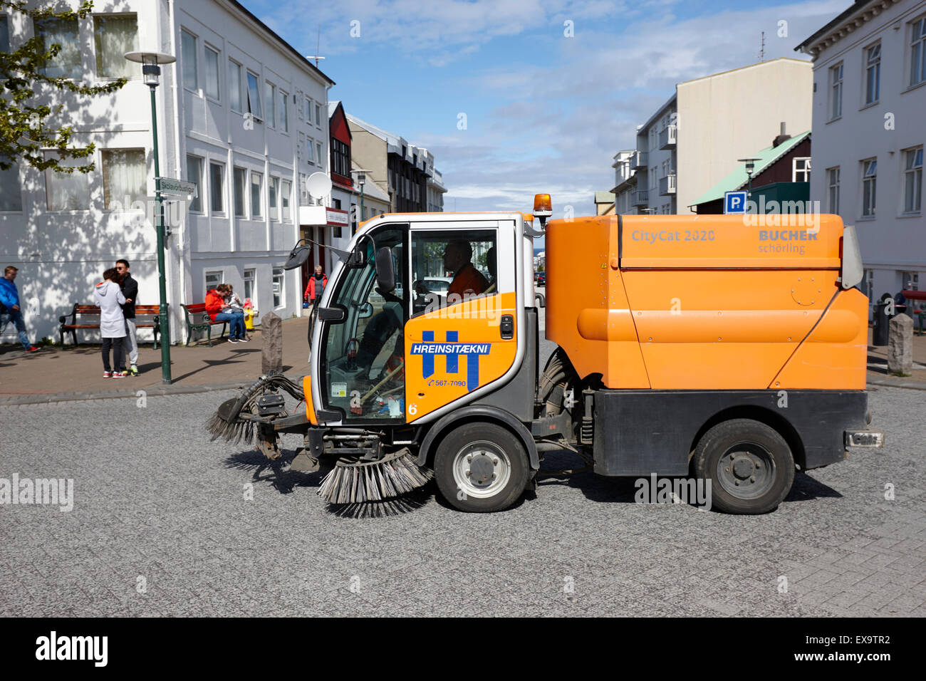 street cleaning vehicle in central city of reykjavik iceland - Stock Image
