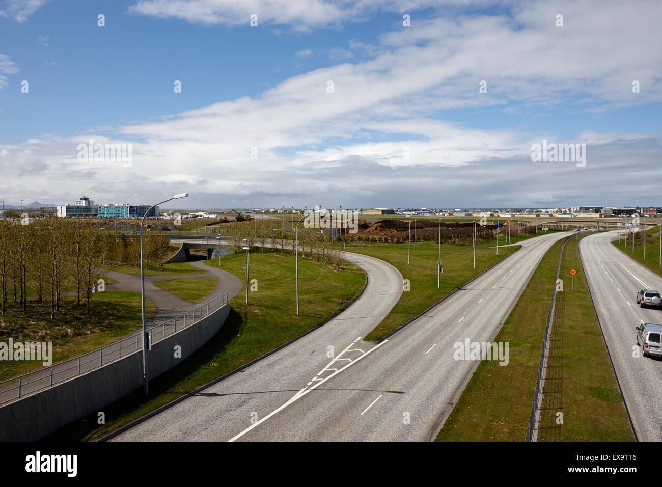 reykjavik city ringroad hringvegur and domestic airport road iceland - Stock Image