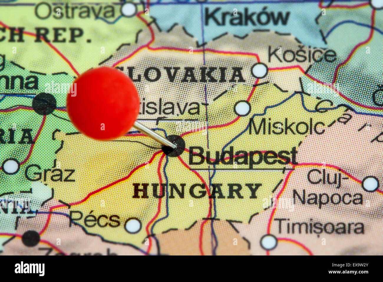 Close-up of a red pushpin on a map of Budapest, Hungary ... on bulgaria hungary map, capital of hungary map, czech republic hungary map, europe hungary map, austria map, budapest tourist attractions, hungary state map, bucharest hungary map, amsterdam netherlands map, ajka hungary map, old hungary map, budapest sights, romania map, switzerland map, bratislava hungary map, prague map, hungary on the map, albania map, budapest history, kassa hungary map,