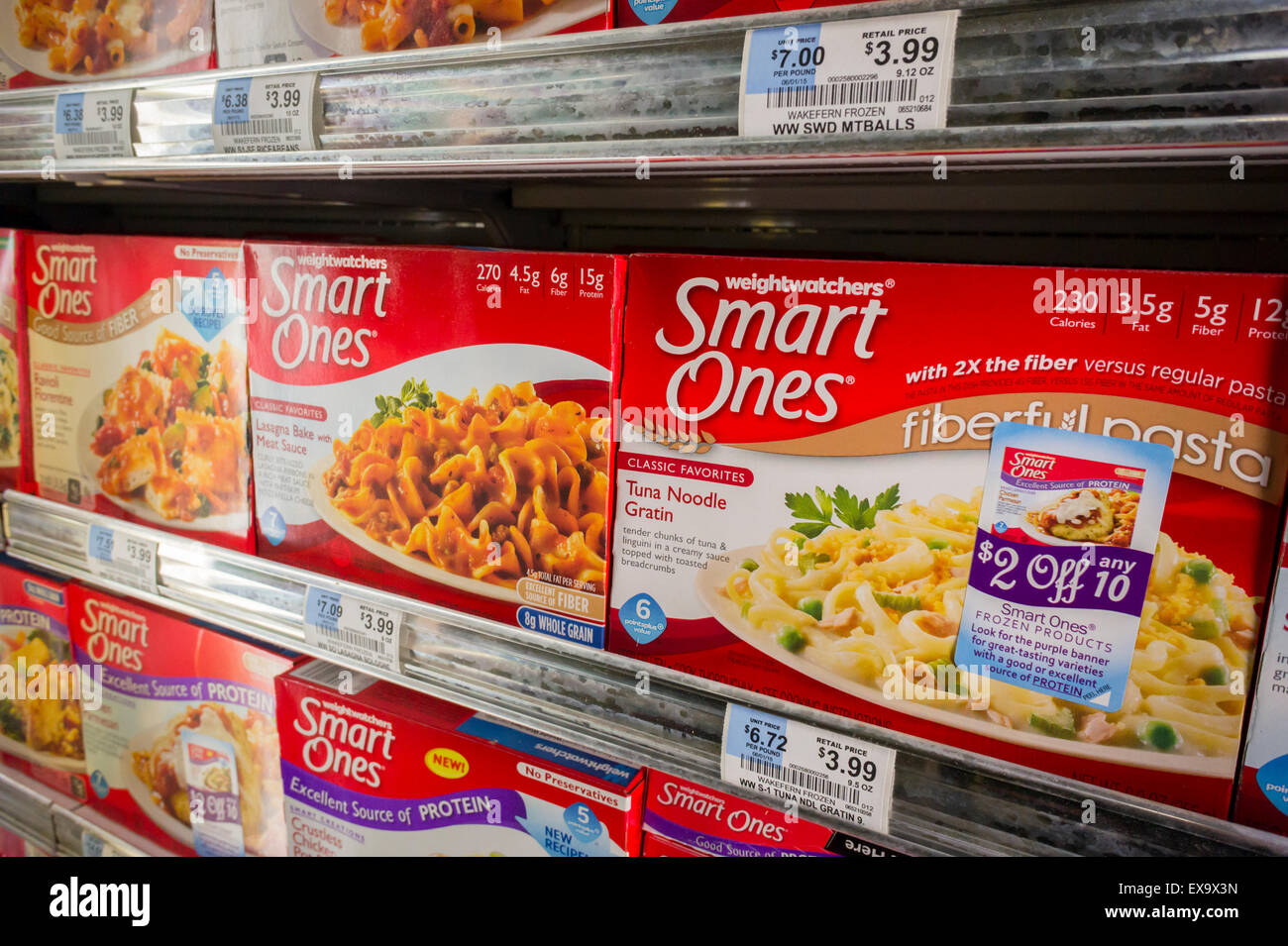Smart Ones brand Weight Watchers frozen meals in a supermarket freezer in New York on Monday, July 6, 2015. Weight - Stock Image