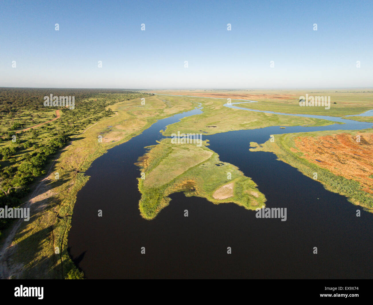 Africa, Botswana, Chobe National Park, Aerial view of Chobe River in Okavango Delta near Ihaha Camp - Stock Image