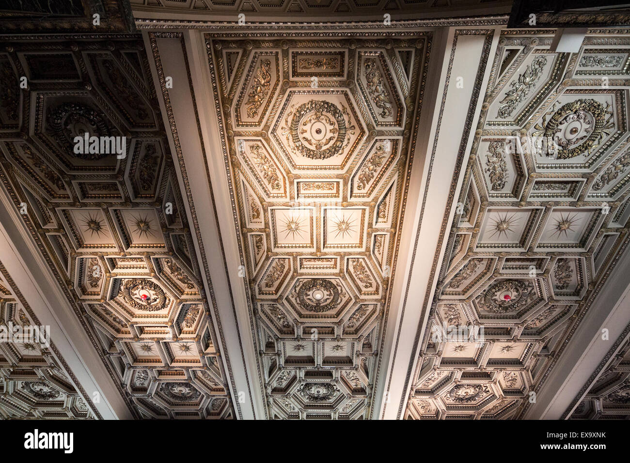 detail of ceiling decoration, Chicago Cultural Center, formerly the Chicago Public Library, Chicago, Illinois, USA - Stock Image