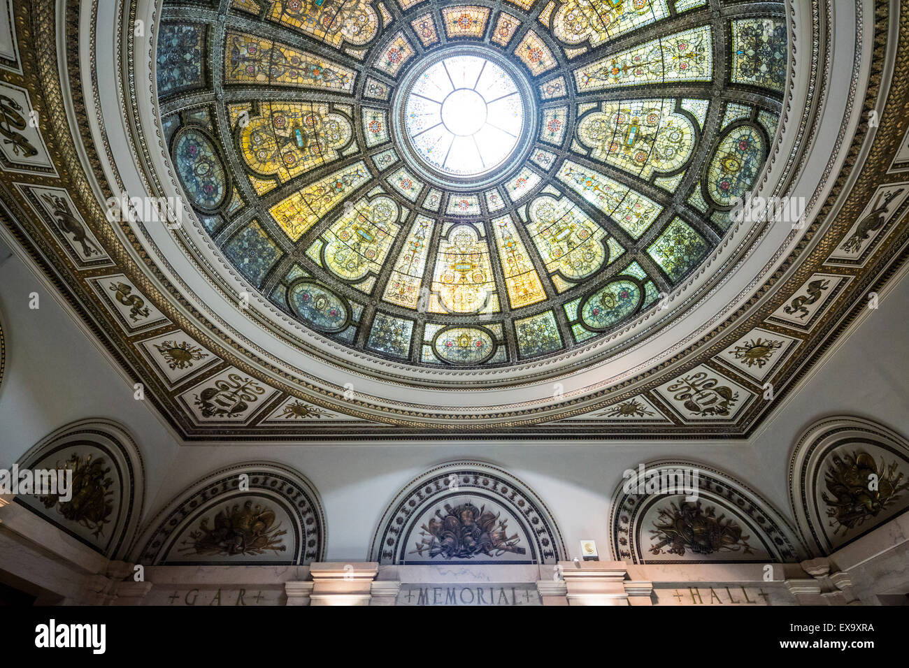 domed skylight, Chicago Cultural Center, formerly the Chicago Public Library, Chicago, Illinois, USA - Stock Image