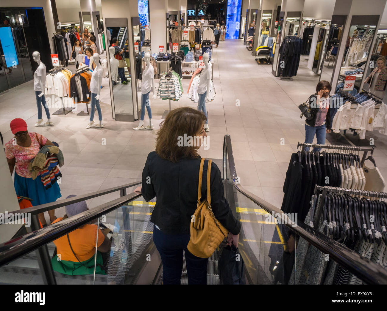 Shoppers in a Zara store on Fifth Avenue in New York on