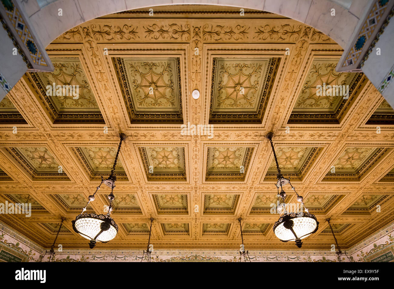 coffered ceiling, Chicago Cultural Center, formerly the Chicago Public Library, Chicago, Illinois, USA - Stock Image