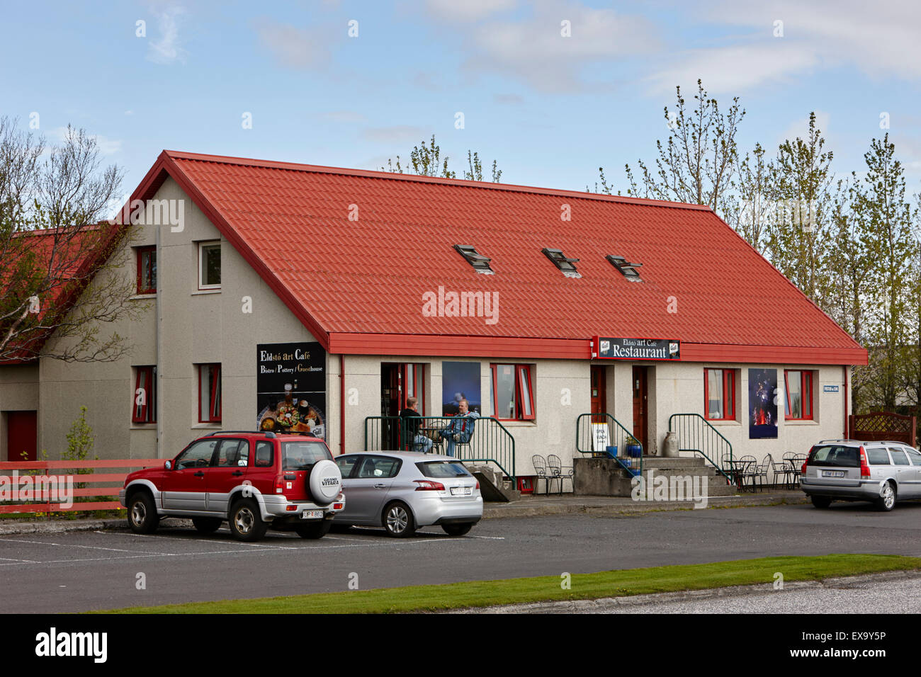 eldsto art cafe and bistro roadside restaurant on route 1 in hvolsvollur Iceland - Stock Image
