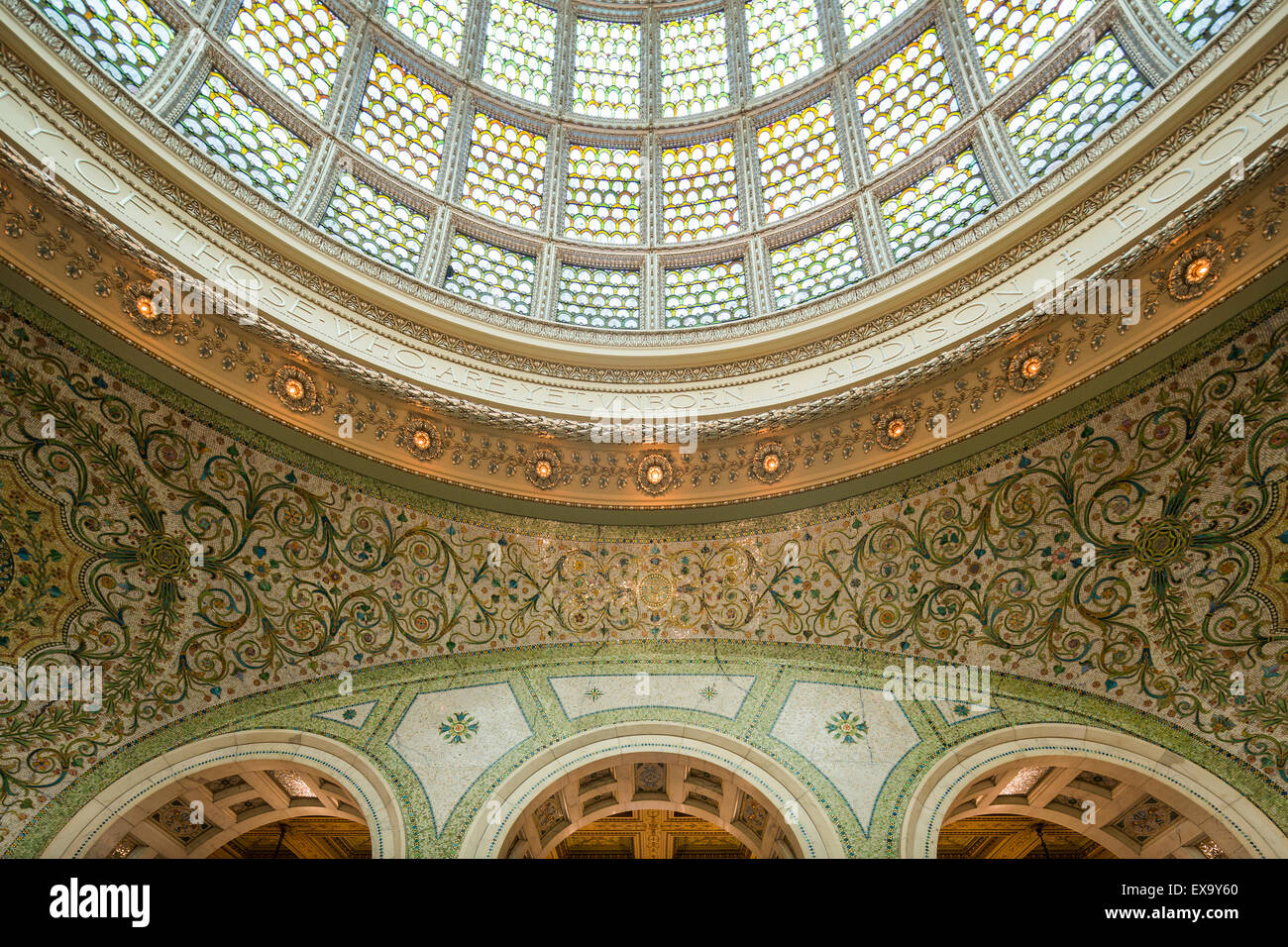 vaulting and domed skylight, Chicago Cultural Center, formerly the Chicago Public Library, Chicago, Illinois, USA - Stock Image