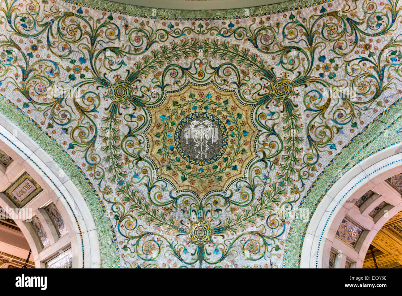 detail of mosaic on pendentive, Chicago Cultural Center, formerly the Chicago Public Library, Chicago, Illinois, - Stock Image